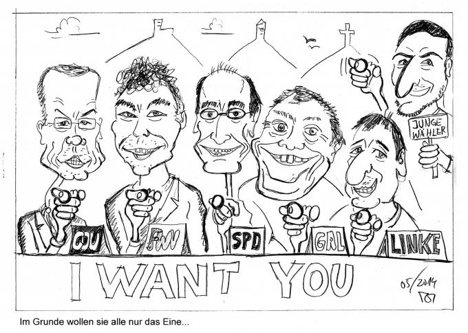Karikatur_Kandidaten_Podiumsdiskussion_GZ_Kommunalwahl_2014